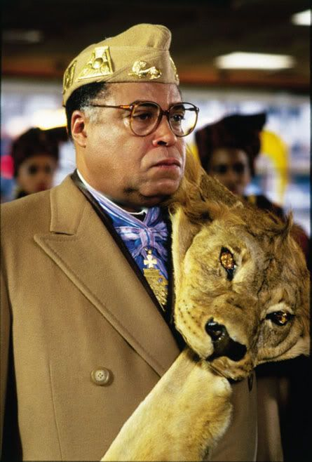 James Earl Jones looking especially regal with a lion stole in Coming to America